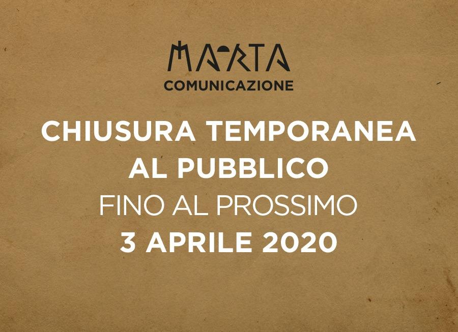 Chiusura temporanea al pubblico fino al prossimo 3 Aprile 2020